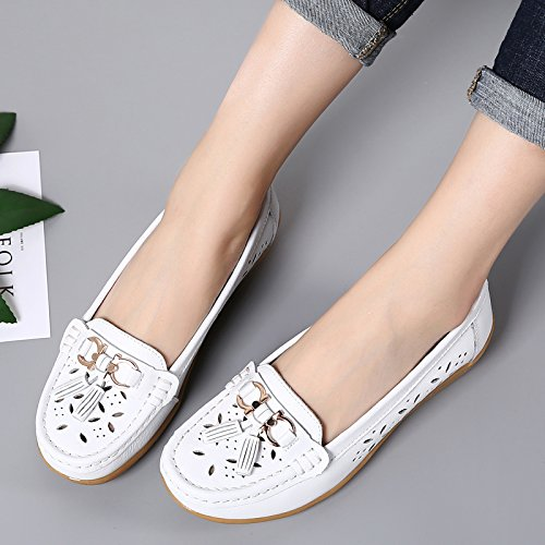 Driving Loafers Flats Leather Labato White Slip ONS Womens 1 Shoes Casual FgCxYZ