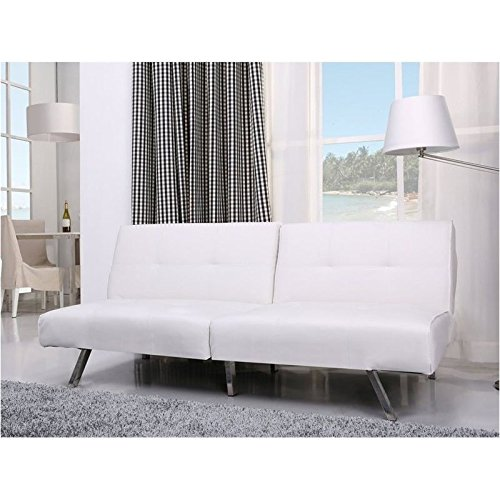 Brika Home Faux Leather Convertible Sofa in White