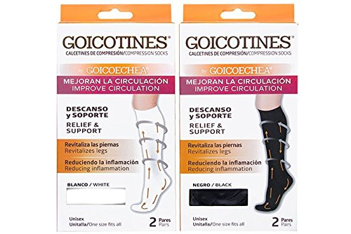 Amazon.com: Goicotines Compression Socks White, 2 Pair, reduce inflammation, varicose veins: Health & Personal Care