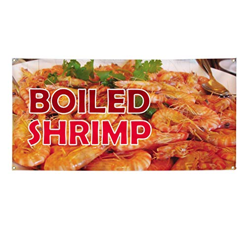 Vinyl Banner Sign Boiled Shrimp Restaurant & Food Outdoor Marketing Advertising Brown - 24inx48in (Multiple Sizes Available), 4 Grommets, Set of 5 ()