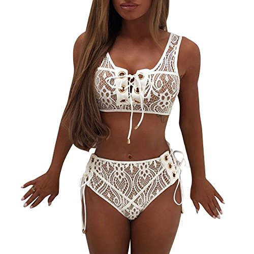 Lisli Women Lace Two Pieces Bandage Sexy Cute Beachwear Black Solid Bathing