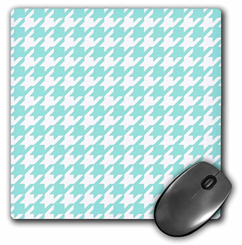 3dRose 8 X 8 X 0.25 Aqua Blue And White Houndstooth Pattern Pastel Turquoise Teal Shabby Chic Preppy Stylish Classy Mouse Pad (mp_113011_1)