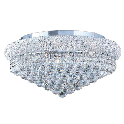 Worldwide Lighting W33011C20 Empire 10 Light with Clear Crystal Ceiling Light, Chrome Finish