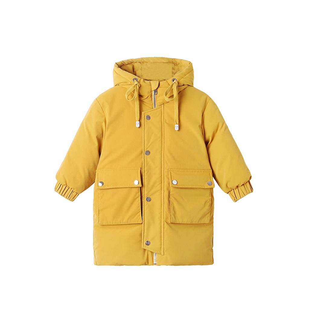 Gallity Girl's and Boy's Hooded Windproof Jacket Winter Hooded Parka Down Cotton Coat Puffer Overcoat Padded Windbreaker Snowsuit 2-7 Years (2-3 Years, Yellow) by Gallity Baby Clothes