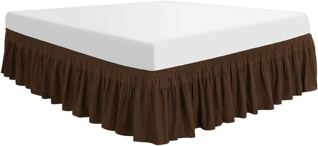PiccoCasa Polyester Wrap Around Bed Skirt,Elastic Dust Ruffles Bedskirts,Fade /& Wrinkle Resistant,No Lift Mattress,Three Fabric Sides with 16 Inch Drop Dark Brown Full