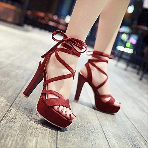 YMFIE Las Sandalias Cruzadas Atractivas puntean Las Sandalias del tacón Alto el Temperamento Elegante del Ante del Verano de Las señoras de los Zapatos de tacón Alto de Moda. gules