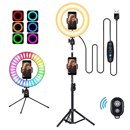 10″ Selfie Ring Light with Tripod Stand and Cell Phone Holder, 14 Colors RGB LED Circle Ring Light for YouTube Video/Makeup/Live Stream/Photography