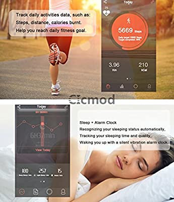 CICMOD Activity Wristband Fitness Tracker with HR Heart Rate Monitor, Pedometer, Sleep Monitor etc.