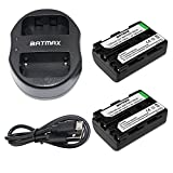 Batmax 2Pcs NP-FM50 Rechargeable Batteries(1800mAh) + USB Dual Charger for Sony NP-FM30 NP-FM51 NP-QM50 NP-QM51 NP-FM55H Battery and Sony M Type NP-FM50 Equivalent Camcorder / Digital Camera