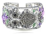 Alilang Owl Purple Flower Silvery Crystal Rhinestone Fashion Bracelet Bangle Cuff