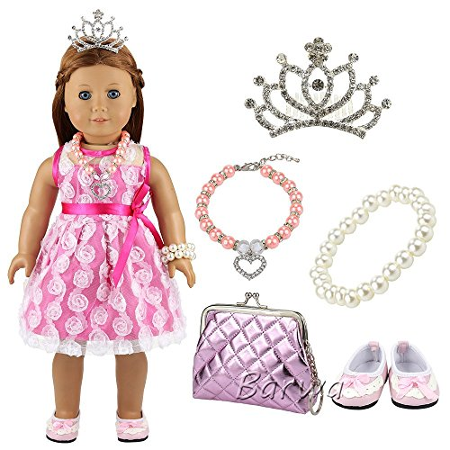 BARWA Doll Accessories Diamond Crown + Pearl Necklace + Orange Necklace + Purple Bag + Pink Shoes for 18 Inch American Girl Xmas Gift
