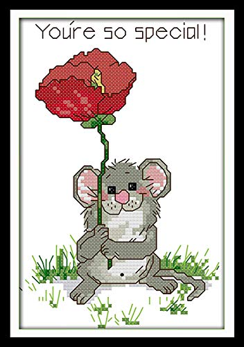Stamped Cross Stitch Kit Pre-Printed Cross-Stitching Patterns, Kids and Adults 14CT Embroidery Needlepoint Starter Kits for Home Decor Mouse