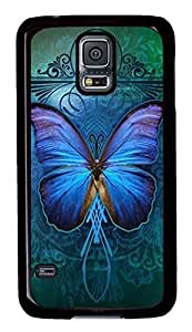 Beautiful Blue Butterfly are Black Hard Case Cover family Skin For Samsung Galaxy S5 I9600 &hong hong customize