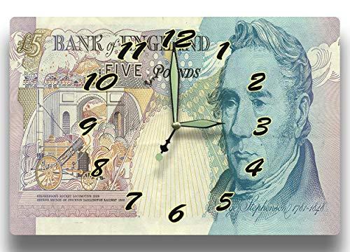 Customized George Stephenson Money Clock Bank of England Series 1993 5 British Pounds Banknote 8 x 12 clock Railway Mechanical Engineering ()