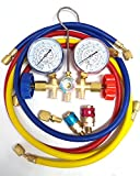 A/C Manifold Gauge And Hose Set With 3PC Connector Color Coded Gauges Valves And Hoses