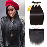 Cheap Ossilee Hair Brazilian Straight Hair 3 Bundles with Lace Frontal 8A Remy Straight Virgin Hair with Frontal Ear to Ear Lace Closure with Straight Hair Bundles (14 14 14+12 frontal, Natural Color)