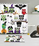 Cute Cartoon Owl Children Decoration Shower Curtain Polyester Fabric 3D 72x72'' Mildew Resistant Waterproof Owls Halloween Dance Party Fancy Ball Kids Bathroom Accessories Bath Liner Mat