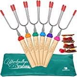 Carpathen Marshmallow Smores Roasting Sticks | Set of 6 Extra Long Heavy Duty Hot Dog Fork Skewers | Camping Campfire Grill, Fire Pit and Fireplace Accessories