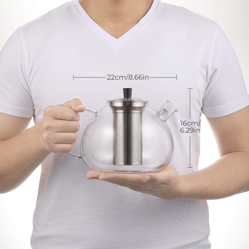 Ecooe Tetera de cristal 2000 ml con colador de acero inoxidable