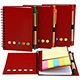 Mtlee 4 Pack Spiral Notebook Lined Notepad with Pen in Holder and Sticky Notes, Page Marker Colored Index Tabs Flags (Red Cover)