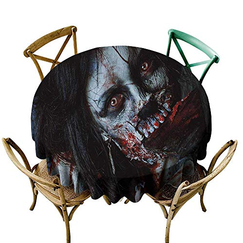 Wendell Joshua Small Round Tablecloth 70 inch Zombie,Scary Dead Woman with a Bloody Axe Evil Fantasy Gothic Mystery Halloween Picture,Multicolor Great for Buffet Table, Parties, Holiday Dinner & More
