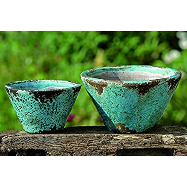 "The Beach Chic Blue Turquoise Cone Cache Pot Planters, Terracotta, Set of 2, 7 1/8"" and 9 ½"" Diameter by Whole House Worlds"
