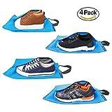 Bagail Set of 4 Lightweight Waterproof Nylon Storage Traveling Tote Shoe Bags Blue 18x10.6