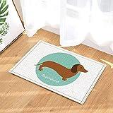 GzHQ Cartoon dog Decor A Lovely Dachshund in Blue Bath Rugs for Bathroom Non-Slip Floor Entryways Outdoor Indoor Front Door Mat Kids Bath Mat 15.7x23.6in