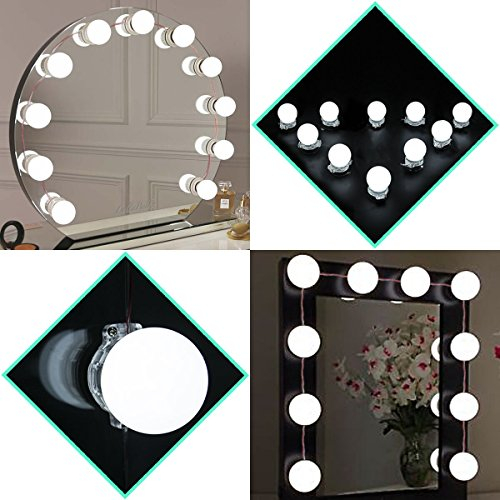 Hollywood Vanity Mirror Lights,Makeup Vanity Led Mirror lights Kit For Dressing Table Lighting Fixture Strip,13.5 Foot,Mirror Not Included (And Mirror With Desk Lights)
