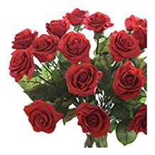 simulation roses - SODIAL(R)10 pcs Latex Real Touch Rose Decor Rose Artificial Flowers Silk Flowers Floral Wedding Bouquet Home Party Design Flowers£¨dark red£©