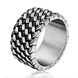 Chryssa Youree Men's Retro Design Jewelry Wedding Band Woven Titanium Steel Silver Rings 7 to 12(DJZ-1) (size 12)