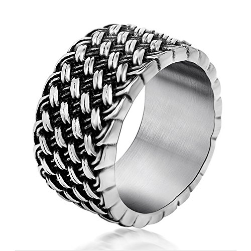 Chryssa Youree 11 MM Mens Retro Jewelry Gothic Biker Wedding Band Woven Stainless Steel Silver Rings 7 to 12(DJZ-1)