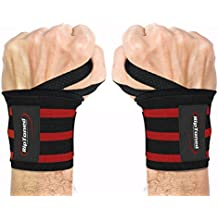 "Wrist Wraps by Rip Toned - 18"" Professional Grade With Thumb Loops - Wrist Support Braces for Men & Women - Weight Lifting, Xfit, Powerlifting, Strength Training - Bonus Ebook"