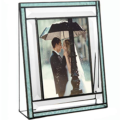 J Devlin Pic 378-46V Aquamarine Blue Stained Glass Picture Frame Tabletop 4 x 6 Vertical Photo Keepsake Gift ()