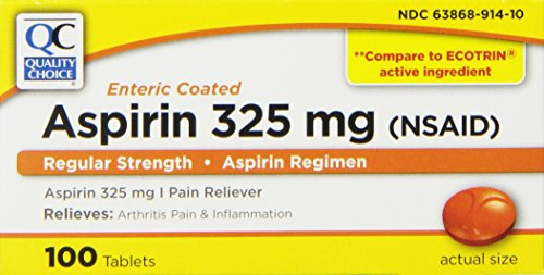 (Quality Choice Regular Strength Enteric Coated Aspirin 325mg. Tablet 100 Count ,  Boxes (Pack of 6))