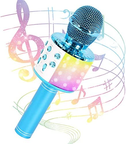 JMFinger Karaoke Microphone for Kids and Adults, Wireless Portable Handheld Bluetooth Microphone with LED Lights - Best Gifts (Blue)