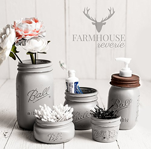 Country Grey Mason Jar Bathroom Set | Gray Bathroom Set | Farmhouse Bathroom Decor | Rustic Bathroom Decor | Vintage Decor | Rustic Kitchen Decor | Country Kitchen Decor | Mason Jar Decor (Country Bathroom Decor Sets)