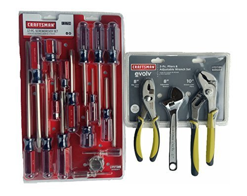craftsman 17 piece screwdriver and 3 craftsman Evolv 3 piece wrench set | adjustable wrench | groove joint | slip joint (bundle)