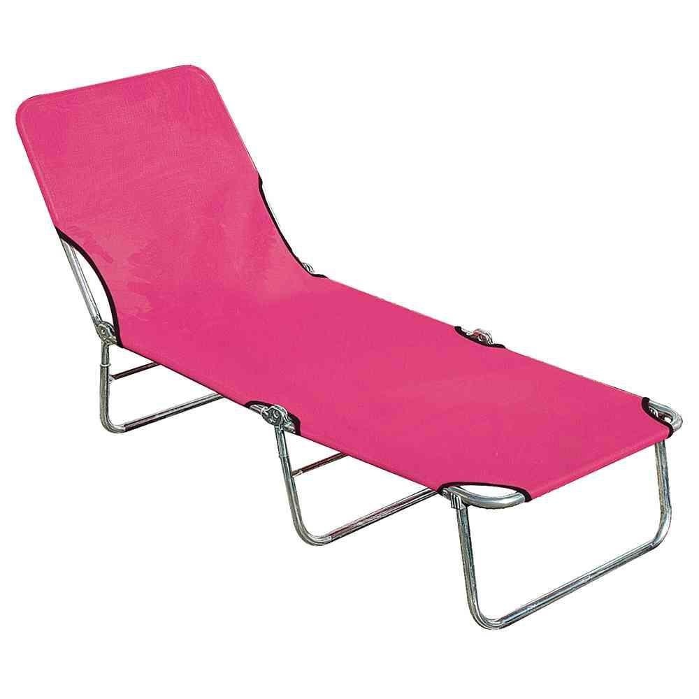 Dreibeinliege pink 190x63 cm Aluminiumgestell: Alu-blank, Textil pink