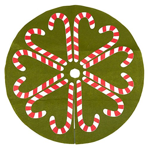 - 30-Inch Christmas Tree Skirt - Candy Cane-Style Xmas Tree Decoration, Felt Christmas Tree Decor, Green