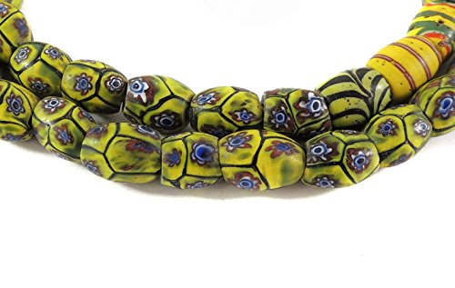 Millefiori Venetian Trade Beads Rare Shape Africa 28 inches - Old Venetian Trade Beads