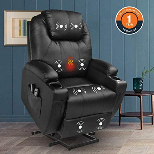 Magic Union Power Lift Chair Electric Recliner Faux Leather Heated Vibration Massage Sofa