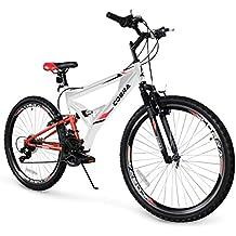 Akonza Cobra Dual Full Suspension Outdoor Mountain Bicycle Shimano 7-Speed Shifter Road Bike (26-Inch), White
