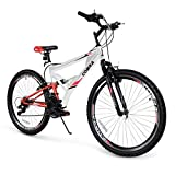 Akonza Cobra Dual Full Suspension Outdoor Mountain Bicycle Shimano 7-Speed Shifter Road Bike (26-Inch), White