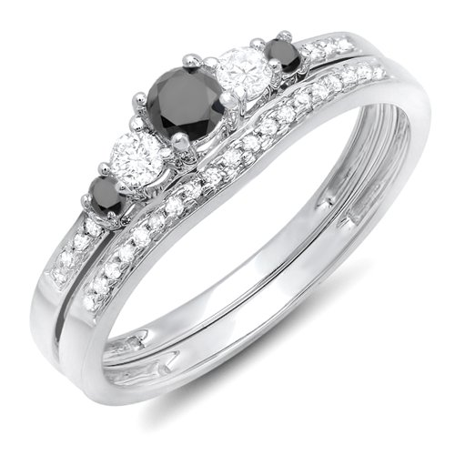 Dazzlingrock Collection 0.45 Carat (ctw) 18k Round Black & White Diamond Ladies 5 Stone Engagement Ring Set, White Gold, Size 5.5