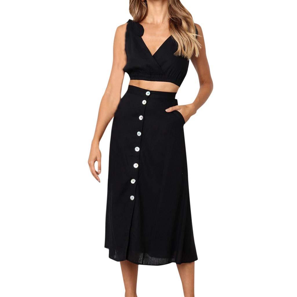 LONGDAY Women Summer Dress Wrap V-Neck 2Pcs Set Tank Top Long Skirt Cold Shoulder Top Vest Button Up Swing Dress Hem Black