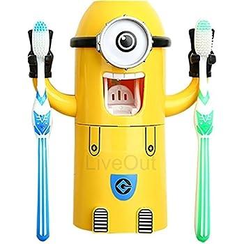 Minion Toothpaste Dispenser - Kids Toothbrush Holder - Minion Stickers Enclosed