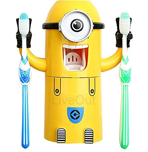 Minion Toothpaste Dispenser - Kids Toothbrush Holder - Minion Stickers Enclosed - Minion Water Dispenser