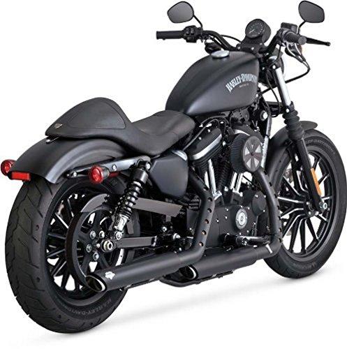Vance & Hines 14-19 Harley XL883N Twin Slash Rounds Slip-On Exhaust (Black / 3