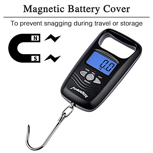 MadBite Digital Fish Scale - LCD Screen, Digital Thermometer, 110lb/50kg Capacity Fishing Scale with Hanging Hook